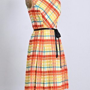 Vintage Rockabilly 1950s Rainbow Seersucker Dress